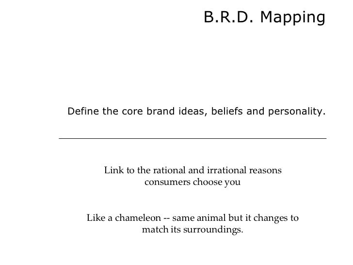B.R.D. Mapping Define the core brand ideas, beliefs and personality. Link to the rational and irrational reasons consumers...