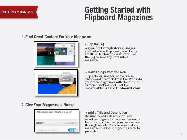 CREATING MAGAZINES 8 1. Find Great Content For Your Magazine < Tap the [+] As you flip through stories, images and videos ...