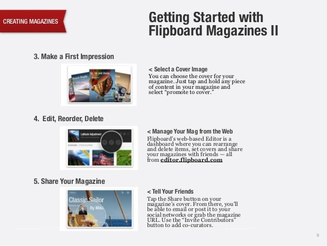 CREATING MAGAZINES 9 3. Make a First Impression < Select a Cover Image You can choose the cover for your magazine. Just ta...