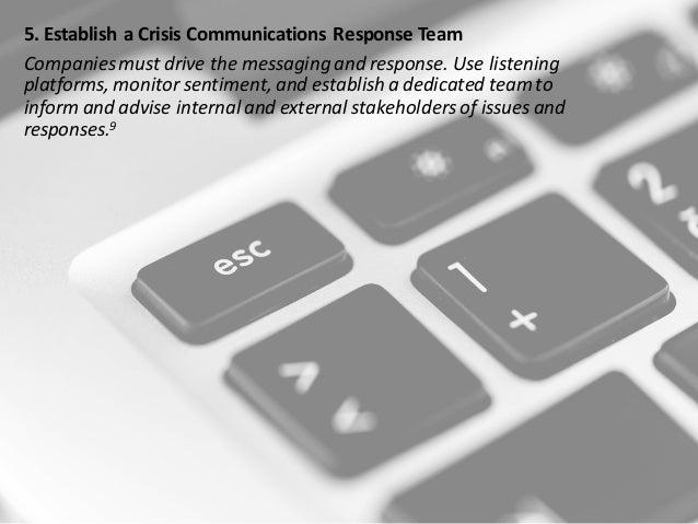 5.Establish a CrisisCommunicationsResponseTeam Companiesmustdrivethemessagingandresponse.Uselistening platfor...