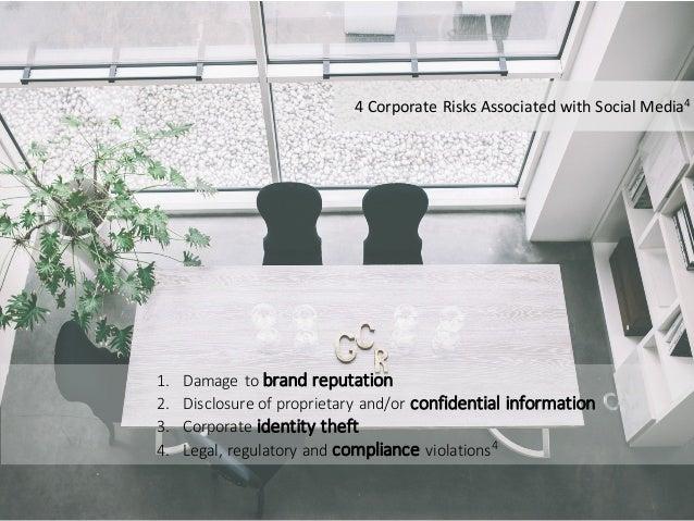 1. Damagetobrandreputation 2. Disclosureofproprietaryand/orconfidentialinformation 3. Corporateidentitytheft ...