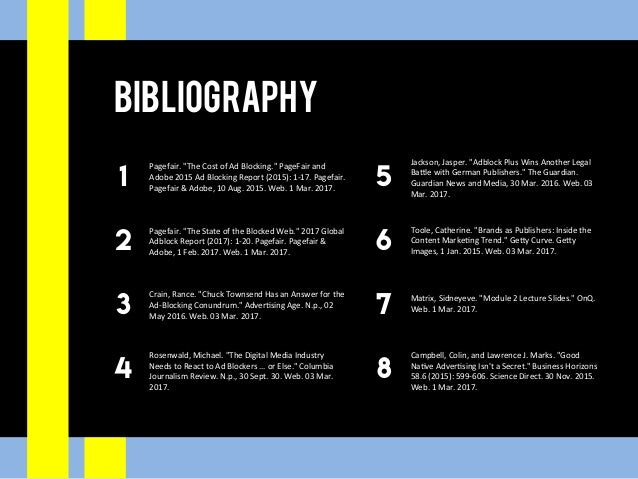 "Bibliography 1 2 3 4 5 6 7 8 Pagefair.""TheCostofAdBlocking.""PageFairand Adobe2015AdBlockingReport(2015):1-1..."