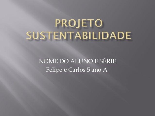 NOME DO ALUNO E SÉRIE Felipe e Carlos 5 ano A