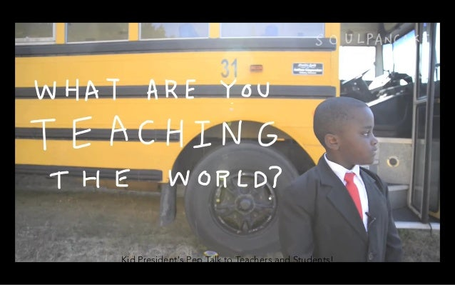 Kid President's Pep Talk to Teachers and Students! http://www.youtube.com/watch?v=RwlhUcSGqgs