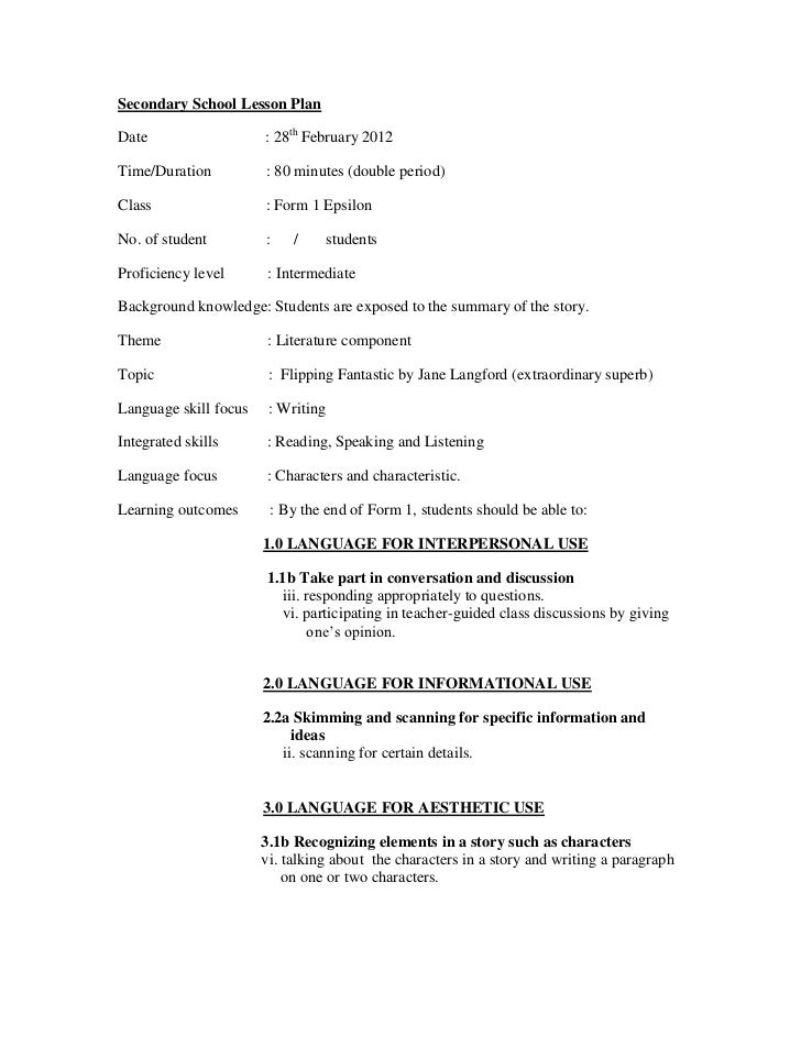 Secondary School Lesson PlanDate                   : 28th February 2012Time/Duration          : 80 minutes (double period)...