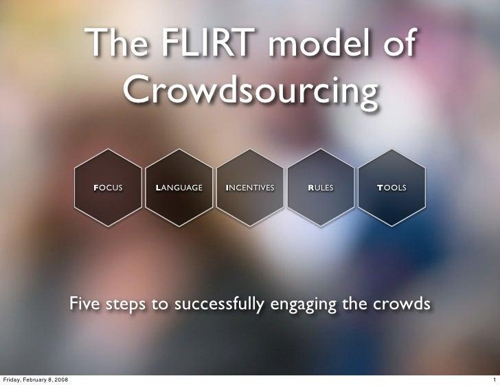 The FLIRT model of                               Crowdsourcing                                FOCUS   LANGUAGE   INCENTIVE...