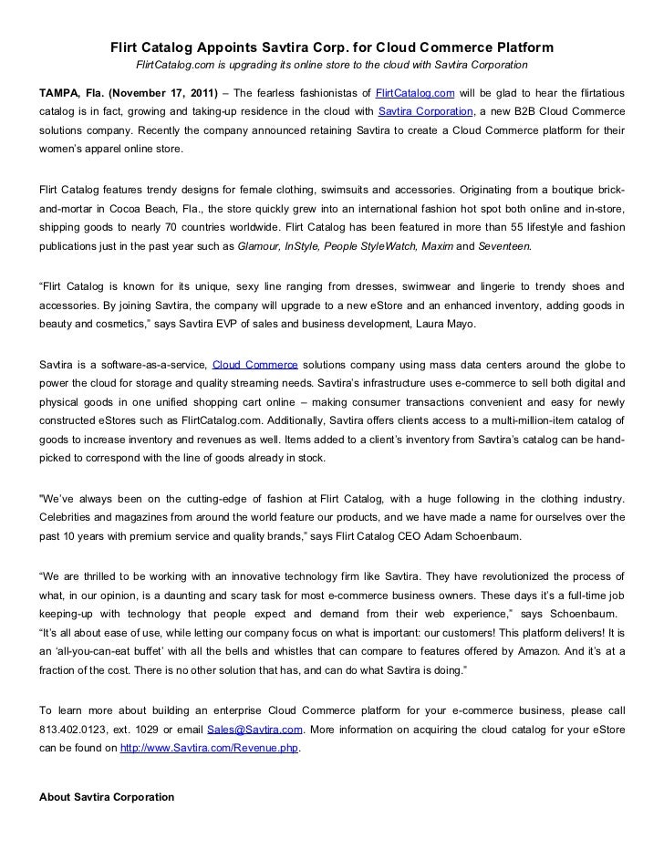 Flirt Catalog Appoints Savtira Corp. for Cloud Commerce Platform