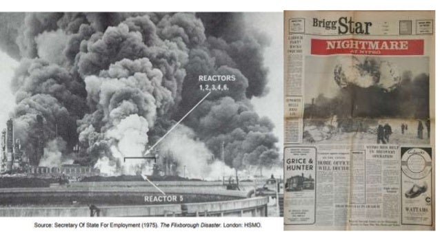 flixborough disaster The flixborough, uk, cyclohexane disaster, 1 june 74• a vapor cloud explosion (vce) case study • presented to es-317y at uwo in 1999 • dick hawr.