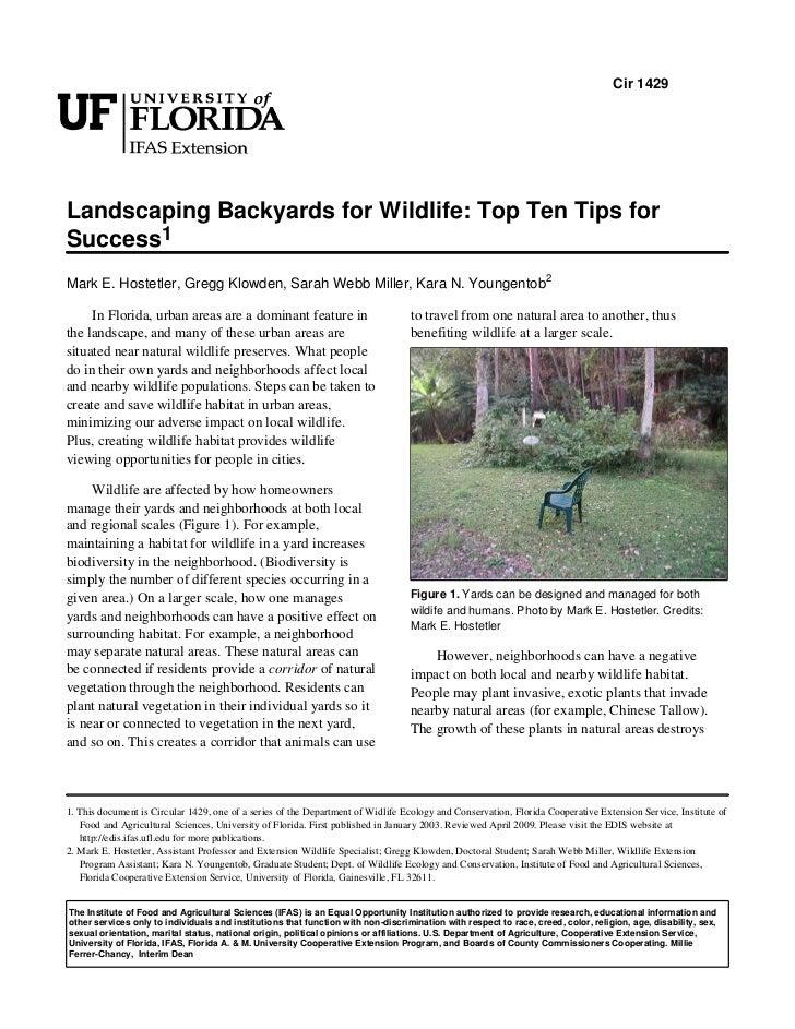 Cir 1429Landscaping Backyards for Wildlife: Top Ten Tips forSuccess1Mark E. Hostetler, Gregg Klowden, Sarah Webb Miller, K...