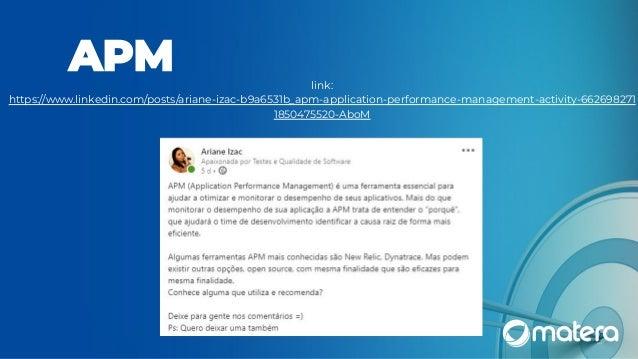 link: https://www.linkedin.com/posts/ariane-izac-b9a6531b_apm-application-performance-management-activity-662698271 185047...