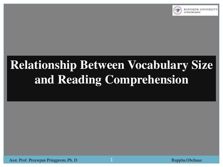 1<br />Relationship Between Vocabulary Size and Reading Comprehension<br />Asst. Prof. Preawpan Pringprom, Ph. D          ...