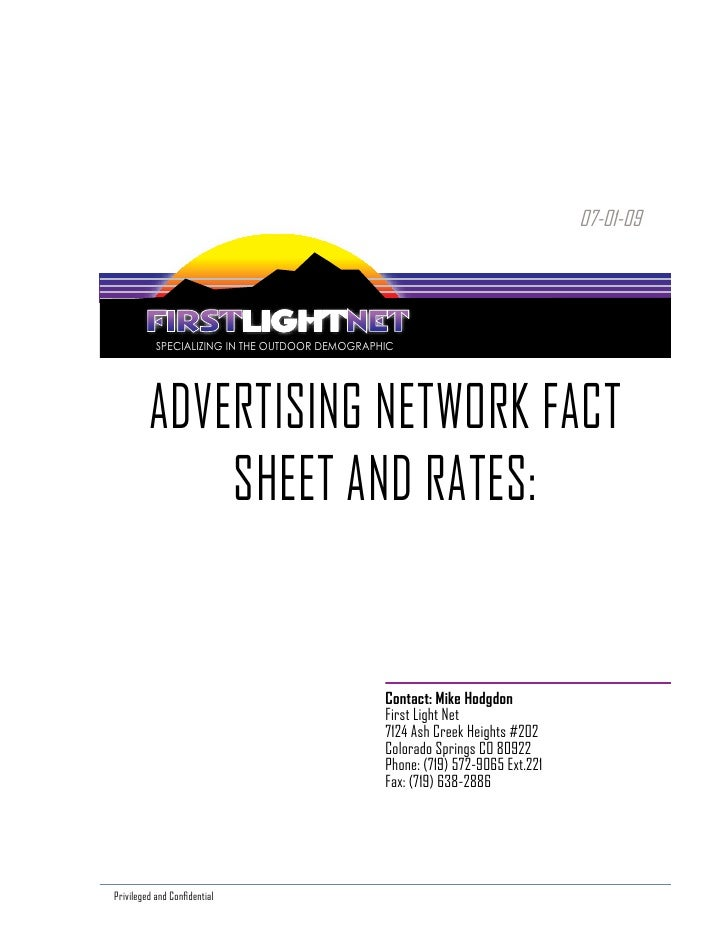07-01-09                SPECIALIZING IN THE OUTDOOR DEMOGRAPHIC              ADVERTISING NETWORK FACT              SHEET A...
