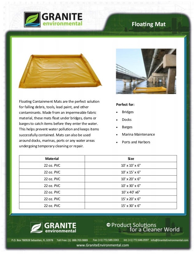 Perfect for:  Bridges  Docks  Barges  Marina Maintenance  Ports and Harbors Floating Containment Mats are the perfect...