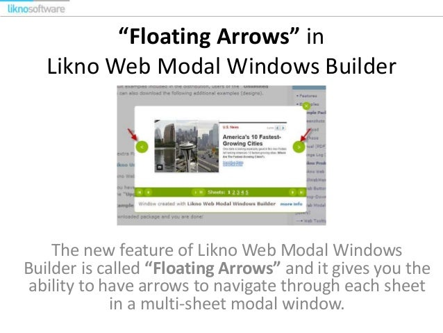 """Floating Arrows"" in Likno Web Modal Windows Builder  The new feature of Likno Web Modal Windows Builder is called ""Floati..."