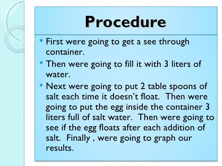 Science Project on How to Float an Egg