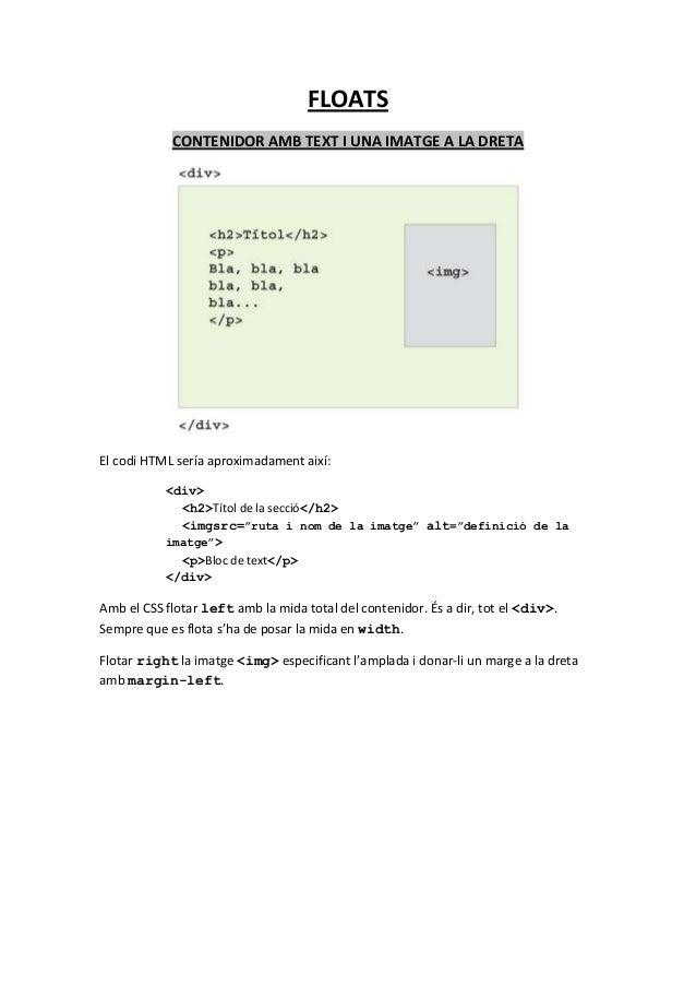 FLOATS            CONTENIDOR AMB TEXT I UNA IMATGE A LA DRETAEl codi HTML sería aproximadament així:           <div>      ...