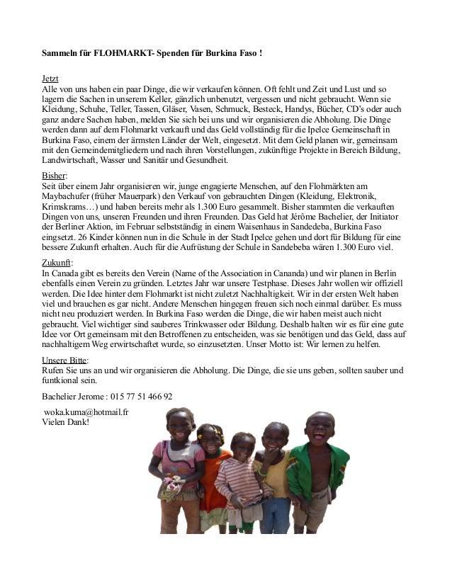 Sammeln für FLOHMARKT- Spenden für Burkina Faso !JetztAlle von uns haben ein paar Dinge, die wir verkaufen können. Oft feh...