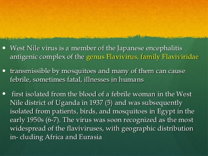 the background and distribution of the west nile virus from uganda Get the facts on west nile virus a virus known as the west nile virus first identified in uganda in west nile virus infection is also called west nile fever.