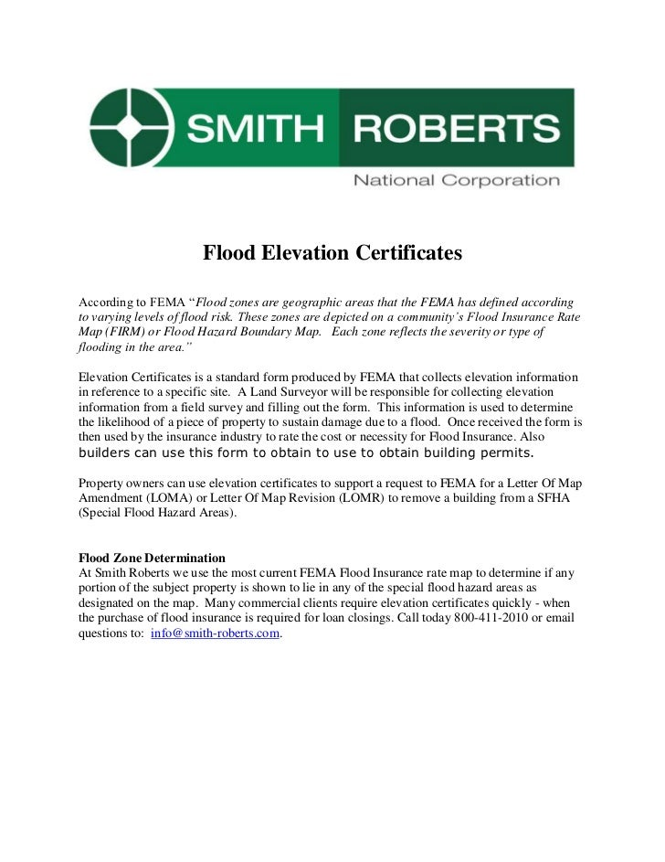 "Flood Elevation Certificates<br />According to FEMA ""Flood zones are geographic areas that the FEMA has defined according ..."
