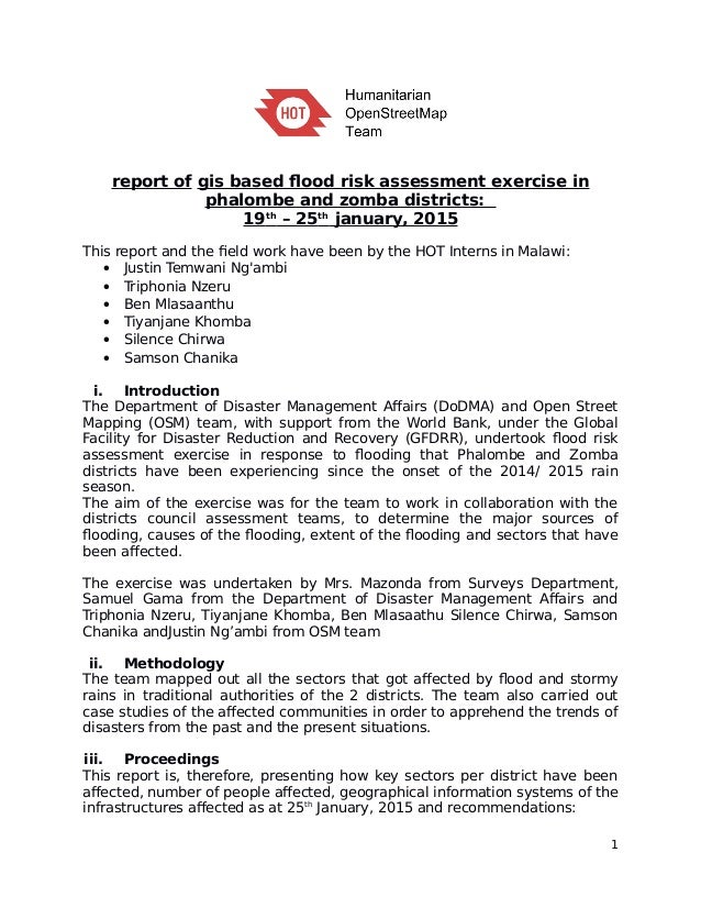 report of gis based flood risk assessment exercise in phalombe and zomba districts: 19th – 25th january, 2015 This report ...