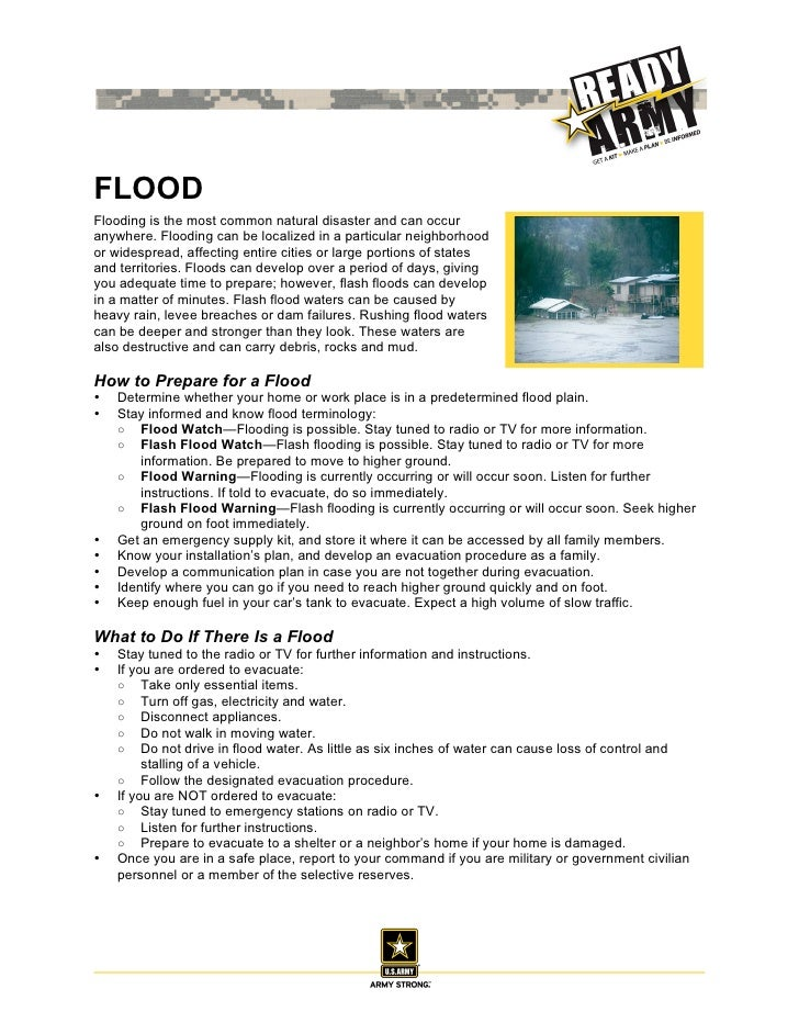 FLOODFlooding is the most common natural disaster and can occuranywhere. Flooding can be localized in a particular neighbo...