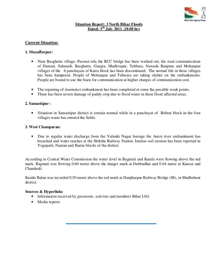 Situation Report: 3 North Bihar Floods                                      Dated: 5th July 2011 ,18:00 hrsCurrent Situati...