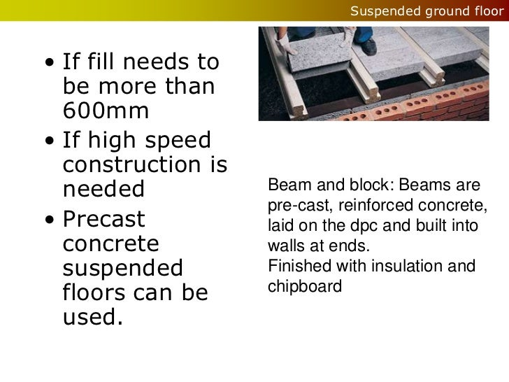 Suspended ground floor• If fill needs to  be more than  600mm• If high speed  construction is  needed             Beam and...
