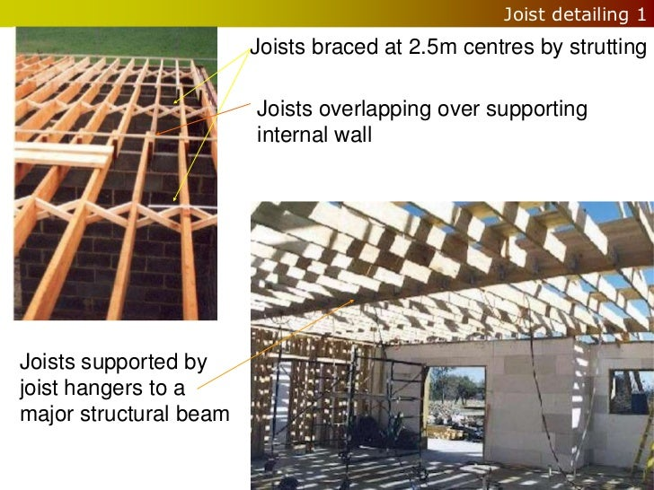 Joist detailing 1                        Joists braced at 2.5m centres by strutting                        Joists overlapp...