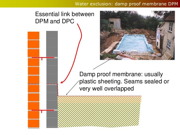 Water exclusion: damp proof membrane DPMEssential link betweenDPM and DPC                Damp proof membrane: usually     ...