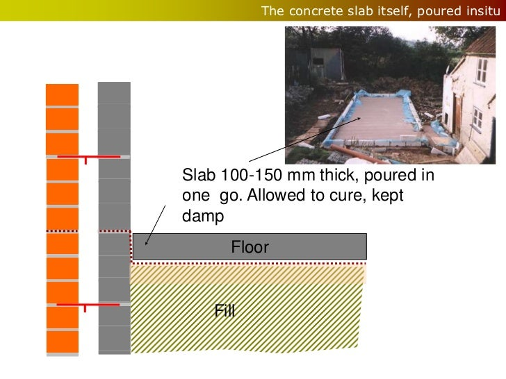 The concrete slab itself, poured insituSlab 100-150 mm thick, poured inone go. Allowed to cure, keptdamp      Floor   Fill