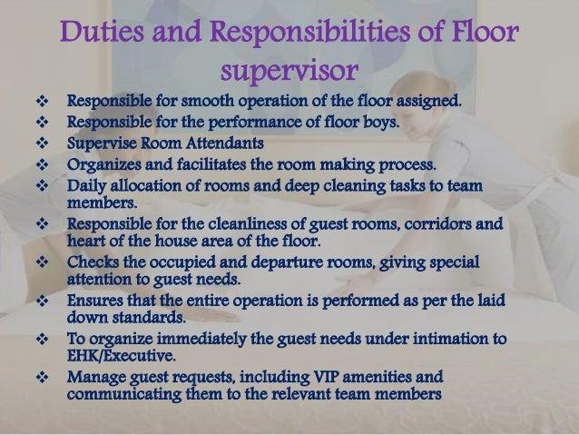 Charming Duties And Responsibilities Of Floor Supervisor ...