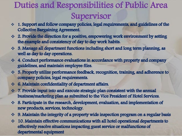 High Quality Duties And Responsibilities Of Public Area Supervisor ...
