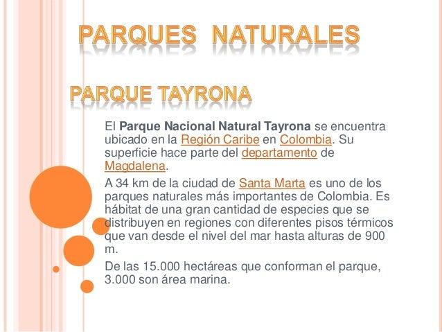 El Parque Nacional Natural Tayrona se encuentraubicado en la Región Caribe en Colombia. Susuperficie hace parte del depart...