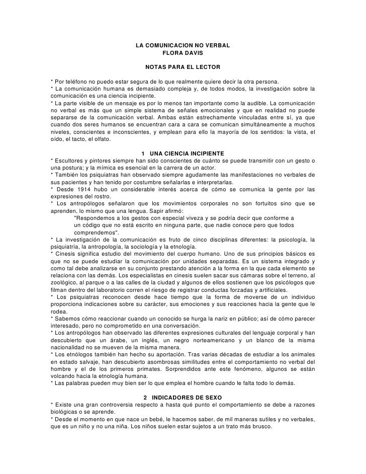 LA COMUNICACION NO VERBAL                                       FLORA DAVIS                                   NOTAS PARA E...