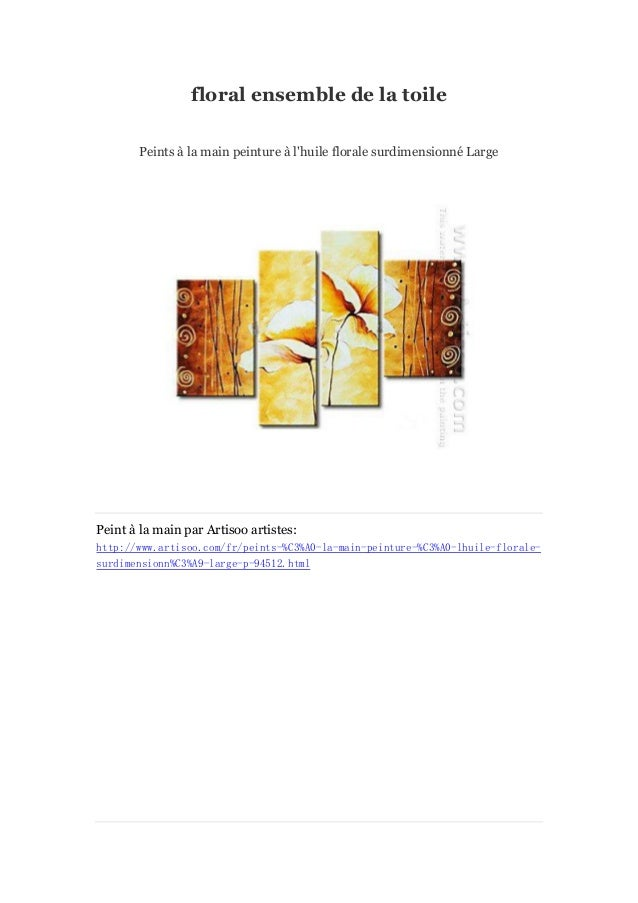floral ensemble de la toile Peints à main peinture à la l'huile florale surdimensionné Large  Peint à main par Artisoo art...