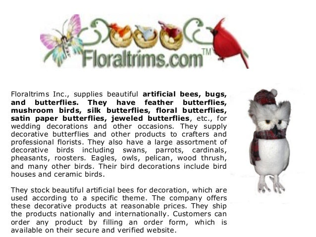 3 Floraltrims Inc Supplies Beautiful Artificial Bees