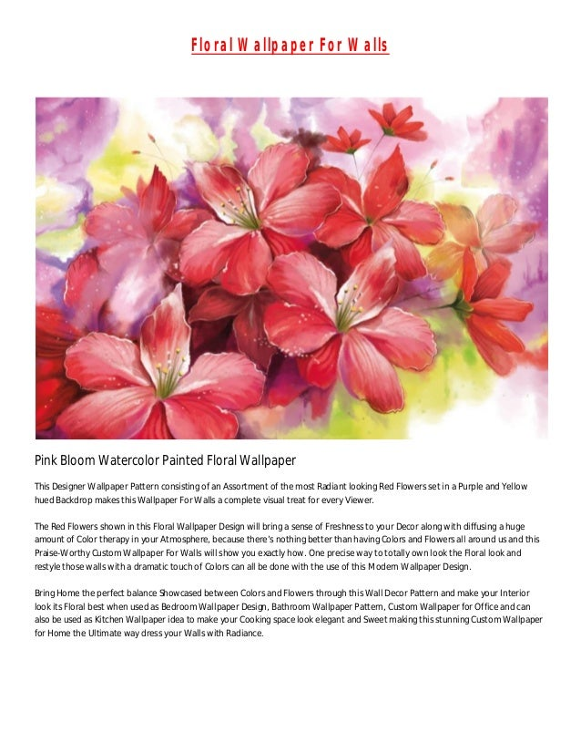 Floral Wallpaper For Walls Pink Bloom Watercolor Painted This Designer Pattern Consisting Of
