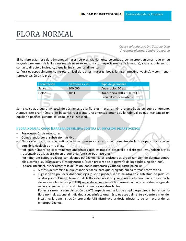 [UNIDAD DE INFECTOLOGÍA] Universidad de La FronteraFLORA NORMAL                                                           ...