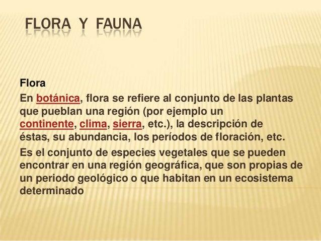 FLORA Y FAUNA  Flora En botánica, flora se refiere al conjunto de las plantas que pueblan una región (por ejemplo un conti...