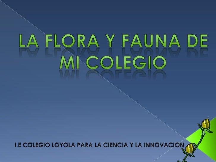 LA FLORA Y FAUNA DE MI COLEGIO<br />I.E COLEGIO LOYOLA PARA LA CIENCIA Y LA INNOVACION<br />