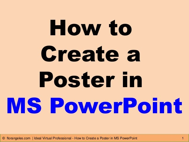 how to create a poster in ms powerpoint