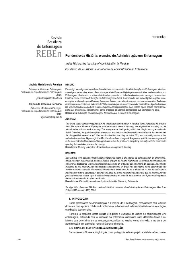 Revista REFLEXÃO  Brasileira  Por dentro da História: o ensino de Administração em Enfermagem  Inside History: the teachin...