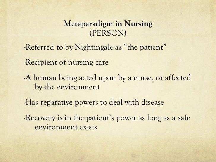 Explanation of how the nursing conceptual model incorporates the four metaparadigm concepts.