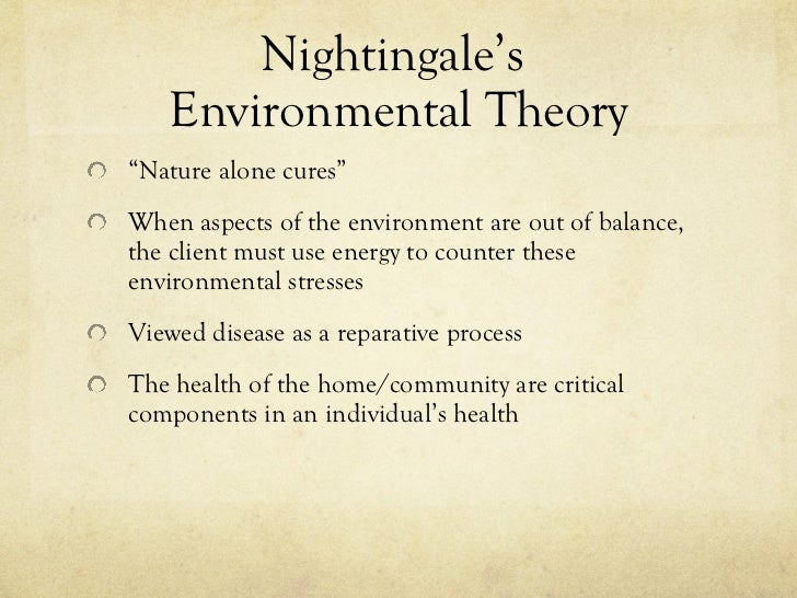 florence nightingales environmental theory I just bumped into this while doing some extra research into nightingales environmental miasmatic perspective on sanitary theory i.