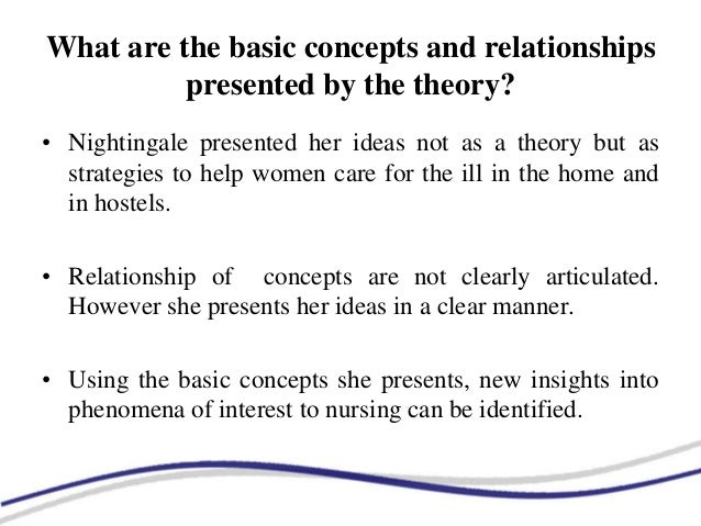 florence nightingales environmental theory essay Description of theory: nightingales theory is based on natural laws (current nursing , 2012) florence nightingale uses an environmental model it is based on the.