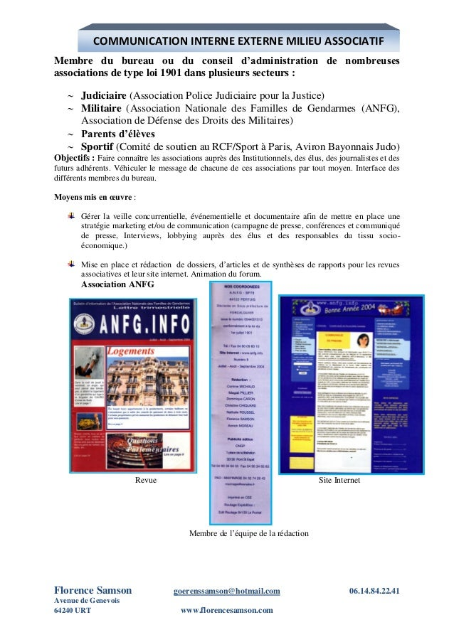 Florence samson book revu le 2 janvier 2013 - Composition bureau association loi 1901 ...