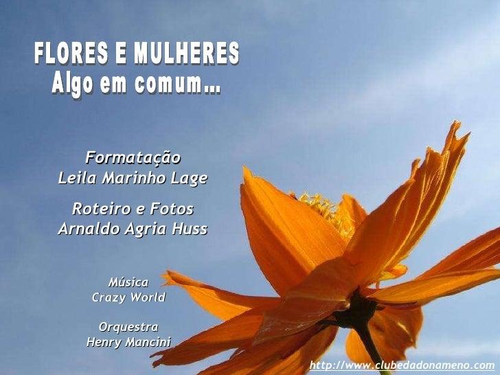 FLORES E MULHERES Algo em comum... Formatação Leila Marinho Lage Roteiro e Fotos Arnaldo Agria Huss Música Crazy World Orq...