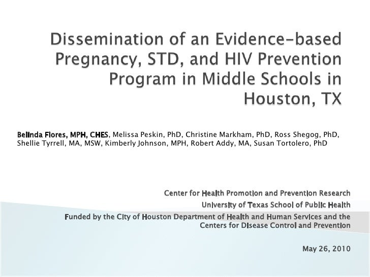Dissemination of an Evidence-based Pregnancy, STD, and HIV Prevention Program in Middle Schools in Houston, TX<br />Belind...