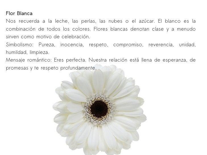 Flor Blanca Nos recuerda a la leche, las perlas, las nubes o el azúcar. El blanco es la combinación de todos los colores. ...
