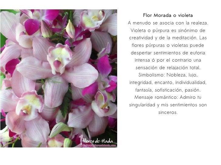Flor Morada o violeta A menudo se asocia con la realeza. Violeta o púrpura es sinónimo de creatividad y de la meditación. ...